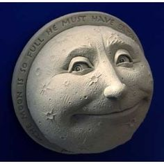 Hand Cast Stone A Child's View Of The Moon - Collectible Celestial Smiling Face Plaque - Concrete Home Or Garden Sculpture
