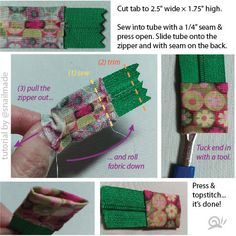 Glass snail crawling...: Zipper Tab Tutorial