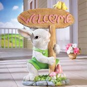 Spring Welcome Easter Bunny Statue