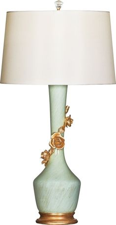 Blue Table Lamp With Gold Flower Detail