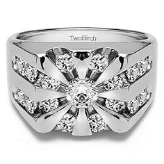 Round Channel Set Sun Burst Style Mens Ring with CZ in Silver 298 ct twt >>> Check this awesome product by going to the link at the image.
