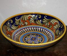 "Deruta Pottery Geo 12"" Bowl Free Shipping   eBay"
