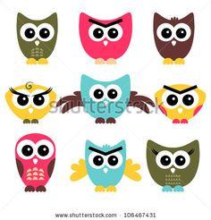 A set of cute owls