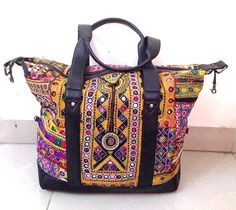 Leather Banjara Bag Indian Gypsy Banjara multi color mirror work embroidery Tote Handmade large bag traveller bag on Etsy, US$169.00