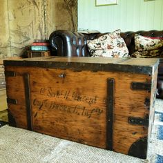 vintage industrial chest storage trunk coffee table ww2 munitions