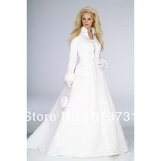 mobile site-Wholesale - 2012 New White Fur Winter Wedding Dresses Cloak High Collar Satin Long Sleeve wedding gowns Coat for bride