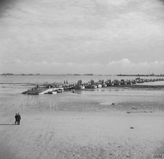 The Arromanches shore end of the causeway to the Mulberry Harbour.