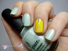 Nail art Verde pastel y amarillo. Hagamos Nails.  #nail #art #yellow #green #chinaglaze #Keep #calm #paint #on #Hagamos #Nails