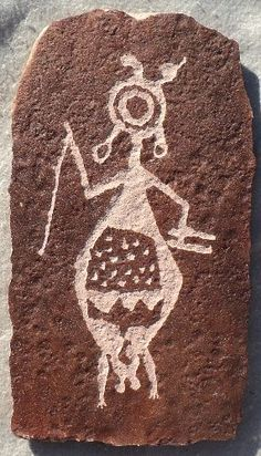 Female shaman.  It is unlikely that females could become shaman until after they passed the age of menstruation. Therefore depictions of female shamans, identified by pendant labia, are rare. This female shaman is found in Big Petroglyph Canyon, CA.