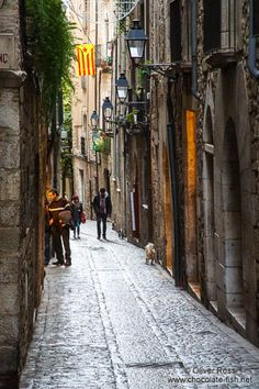 Street in Girona`s historical old town, Catalonia