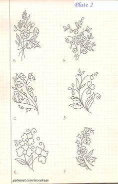 Vintage bunch-of-flower Motifs . Plate #2. ...... I've embroidered pattern A : http://pinterest.com/pin/431501208017711409/
