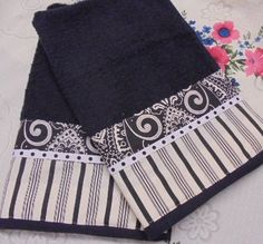 ******** Hand towels measure 16  x 28  ********    I've added a border to one end of each towel with      brand new designer fabric!    Brand new Fabr