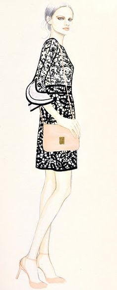 Fashion illustration - fashion drawing with lovely lace dress // Teri Chung