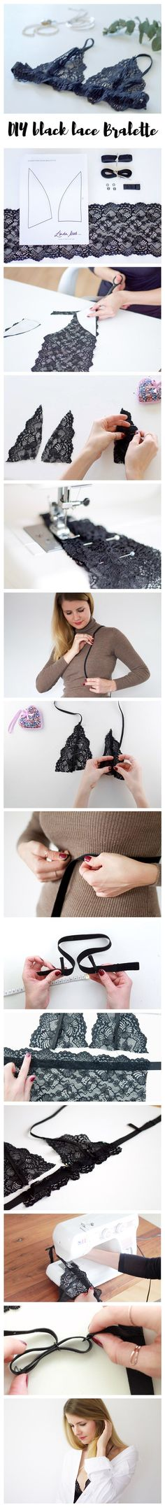 Black lace Bralette DIY – A fun and easy do it yourself project for the summer …. Black lace Bralette DIY – A fun and easy do it yourself project for the summer … you can buy a complete DIY Material Kit via lindaloves. Lingerie Couture, Sewing Lingerie, Diy Couture, Lingerie Patterns, Sewing Hacks, Sewing Tutorials, Sewing Crafts, Sewing Projects, Sewing Patterns