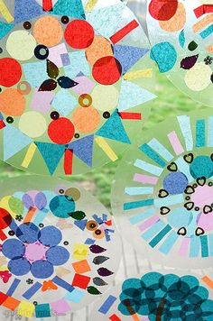 Easy Contact Paper Mandalas - Picklebums : Easy Contact Paper Mandalas (with free printable template to help with symmetry if required) Kindergarten Art, Preschool Art, Art Activities For Kids, Art For Kids, Math Activities, Mandala Kit, Mandala Original, Mandalas Drawing, Ecole Art