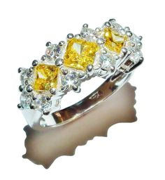 Stamped 925 Sterling Silver, Yellow & Clear Gem Set Triple Cluster Ring -Size: I