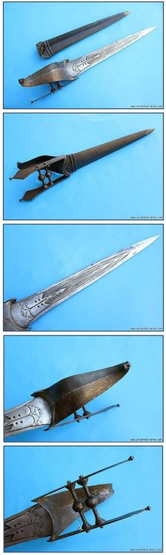 Indian hooded katar, 18th century, a very old version of the katar. A development stage between the Pata, the long gauntlet sword and the Kattar, the short push dagger. Finely fullered blade 15 long. The cross bars are shaped like small balls. The handle is protected with a steel hood terminating in a styled monster head (Yali) shaped tip, original wood scabbard covered with black leather. 22 inches total length.