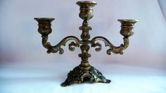 Antique French Brass Candelabra, Vintage Ornate Bronze 3 Arms Candle Holder, French Decor by Grandchildattic on Etsy