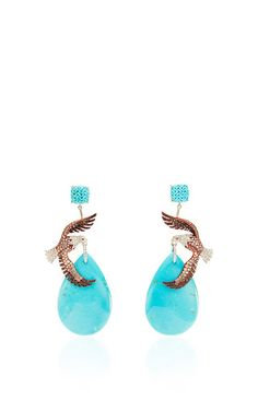 One Of A Kind Eagle Earrings by LYDIA COURTEILLE for Preorder on Moda Operandi