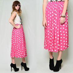 Vintage 80s Bold Hot Pink Polka Dot Print High Waist MIDI Grunge Skirt M | eBay