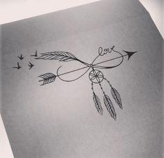 Modele tatouage oiseau avec dreamcatcher et mot