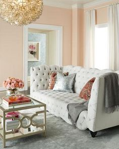 Blush and grey living room. I like how both silver and gold accents are at home in this scheme - warm and cool.