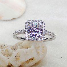 Cushion Moissanite Diamond Petite Halo by LovinglyEverAfter