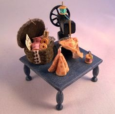12th scale Dolly on a tuffet sewing por DebJacksonDesigns en Etsy