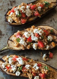 Low FODMAP and Gluten Free Recipe - Stuffed eggplant with quinoa, feta and tomato  (update)  http://www.ibssano.com/low_fodmap_recipe_stuffed_eggplant_quinoa_feta_tomato.html