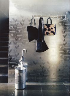 "Florence Broadhurst metallic wallpaper ""Yvans Geometric"" Ausralian Vogue Living"