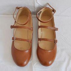 Triple Strap Flat camel #shoes