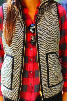 Buffalo plaid button down, herringbone vest