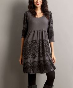 Charcoal Lace-Print Empire-Waist Tunic