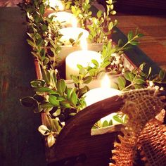 centerpiece boxwood and candles