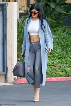 Kylie Jenner wearing ASOS Duster Coat, Givenchy Croc-Embossed Medium Antigona Duffel, J Brand 8226 Photo Ready Cropped Skinny Jeans in Chrome Mercy and Gianvito Rossi Pointed Toe Pumps