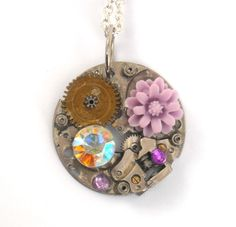 Steampunk Necklace with Lavender Flower by TimeMachineJewelry