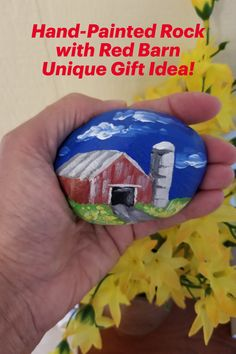 Unique hand-painted stone with country flair! Red barn and silo painted in acrylics and sealed with clear varnish. Use this stone inside as decor, as a paperweight, or in the garden. Keep for yourself or give as a memorable gift. Wonderful affordable original art collector's item! Hand Painted Rocks, Painted Stones, Barn Art, Stone Barns, Red Barns, Small Art, Handmade Decorations, Memorable Gifts, Gifts For Father