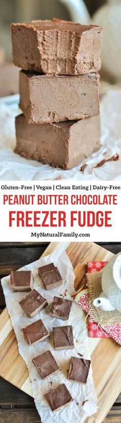This peanut butter chocolate freezer fudge only has 4 ingredients and whip up in no time. It's perfect for a late night snack, Clean Eating Christmas dessert for to give to neighbors.