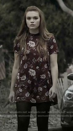 Lydia's red floral short sleeved dress on Teen Wolf.  Outfit Details: https://wornontv.net/63938/ #TeenWolf