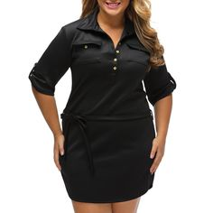 Spandex   Polyester Plus Size Autumn and Winter Dress with belt Solid