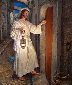 "Jesus, ""Behold I stand at the Door and Knock"" by Ralph Pallen Coleman, who was an ordained elder in The Presbyterian Church. Pictures Of Jesus Christ, Religious Pictures, Religious Art, Jesus Christ Painting, Jesus Art, Jesus Our Savior, Jesus Is Lord, Lord Lord, Lds Art"