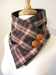 Brown and Rust Plaid Neck Warmer Scarf with Tan by FashionCogs