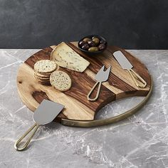 Beck Cheese Board and 3 Gold Cheese Knives Set | Crate and Barrel