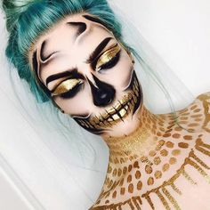 Make-up: halloween makeup halloween halloween accessory gold green hair skeleton