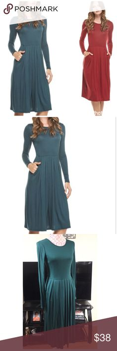 NEW FITTED WAIST PLEATED DRESS NEW HUNTER GREEN PLEATED DRESS WITH SIDE POCKETS. FITTED WAIST.                                                               Measurements on Size Small Bust 30-32 Waist 26 Length 43                                               95% RAYON/5% SPANDEX 4 Bidden Boutique Dresses Midi