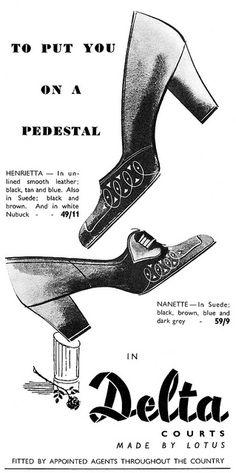 Delta Shoes put you on a pedestal. #vintage #1950s #shoe #ads