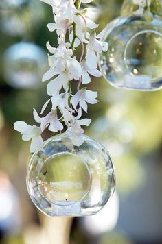 Hanging by a vine of orchids, these glass bubble tealight holders are both beautiful and functional.