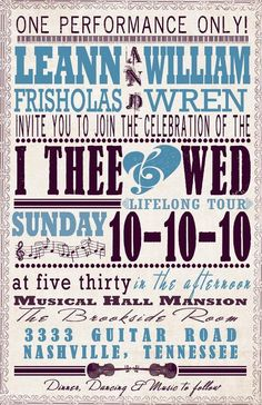 """Wedding Invitation """"music theme"""" - love these - would be so perfect for a House of Blues or Rock Hall wedding. Def not cookie cutter and super awesome!"""