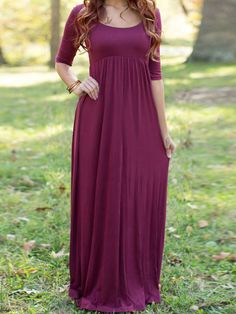Burgundy Scoop Neck Cut Out Back Maxi Dress Mobile Site