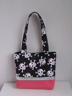 Pink black and silver skull purse by pinklilypadbags on Etsy